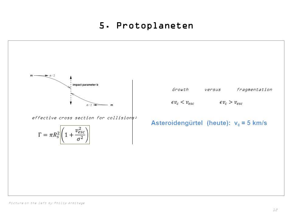 5. Protoplaneten Asteroidengürtel (heute): vc = 5 km/s
