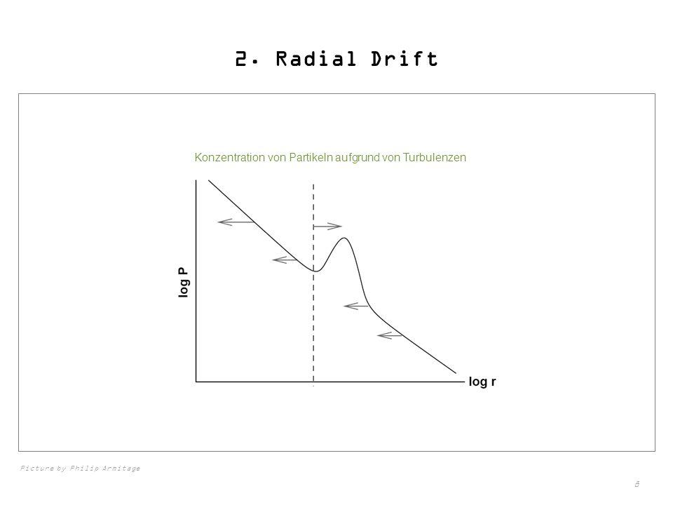 2. Radial Drift Konzentration von Partikeln aufgrund von Turbulenzen