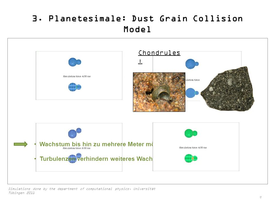 3. Planetesimale: Dust Grain Collision Model