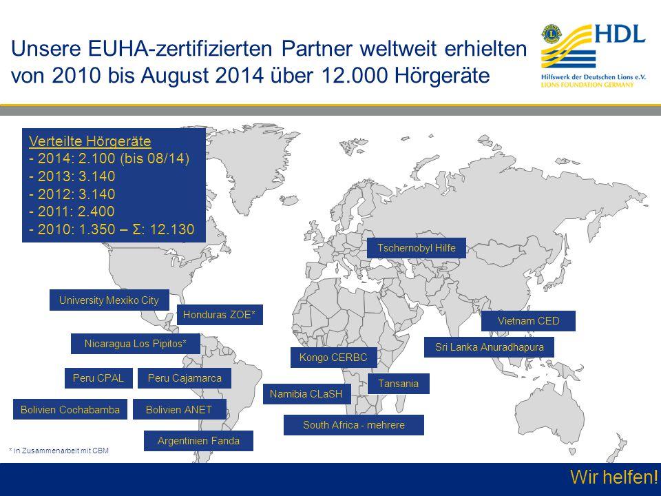Unsere EUHA-zertifizierten Partner weltweit erhielten von 2010 bis August 2014 über 12.000 Hörgeräte