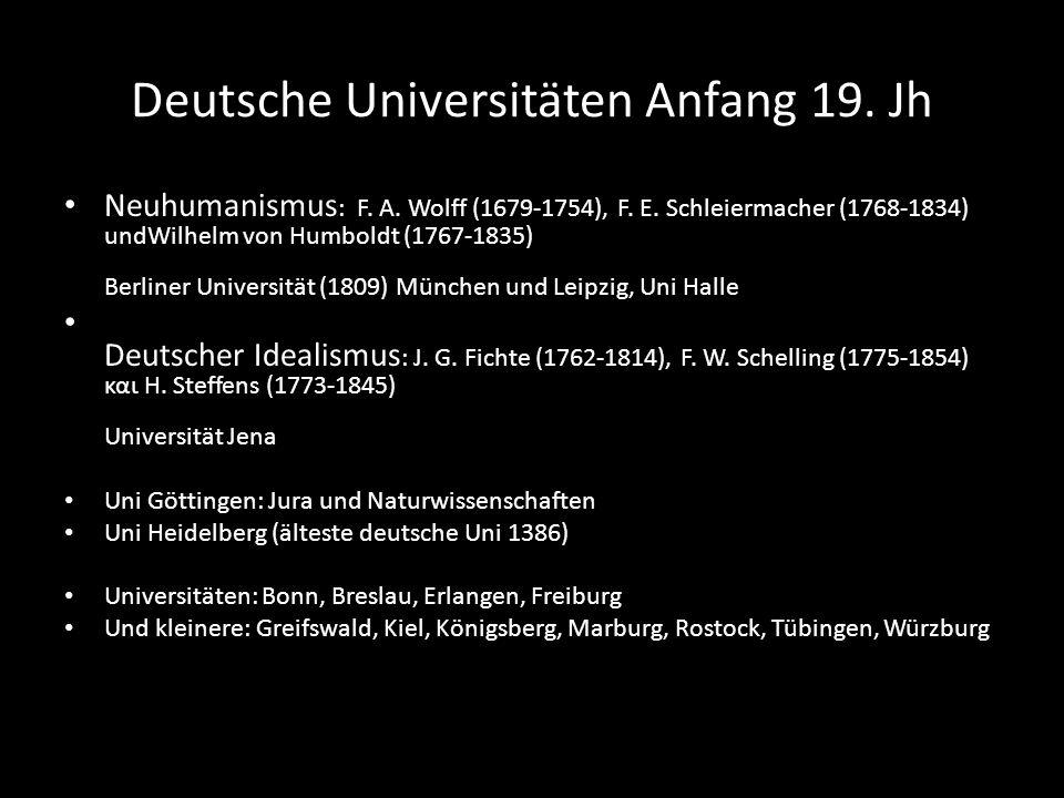 Deutsche Universitäten Anfang 19. Jh