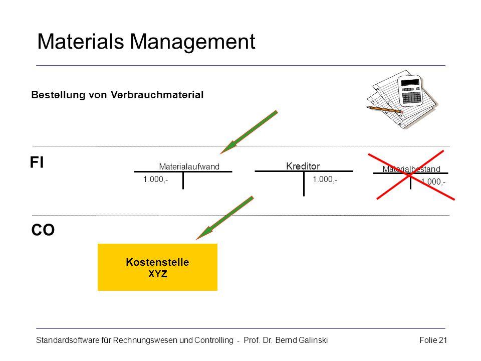 Materials Management FI CO Bestellung von Verbrauchmaterial