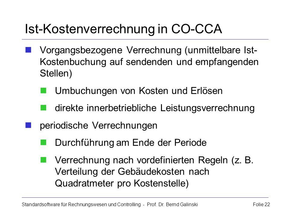 Ist-Kostenverrechnung in CO-CCA