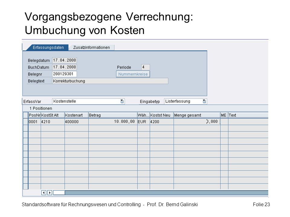 Vorgangsbezogene Verrechnung: Umbuchung von Kosten