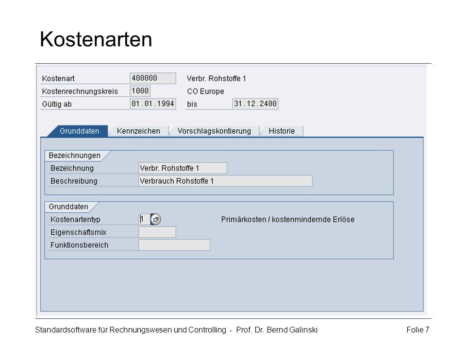 Kostenarten Standardsoftware für Rechnungswesen und Controlling - Prof.