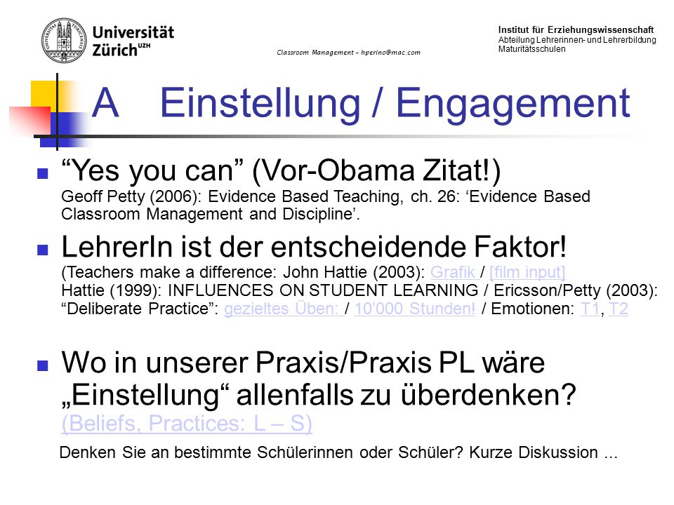 A Einstellung / Engagement