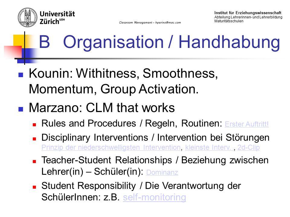 B Organisation / Handhabung