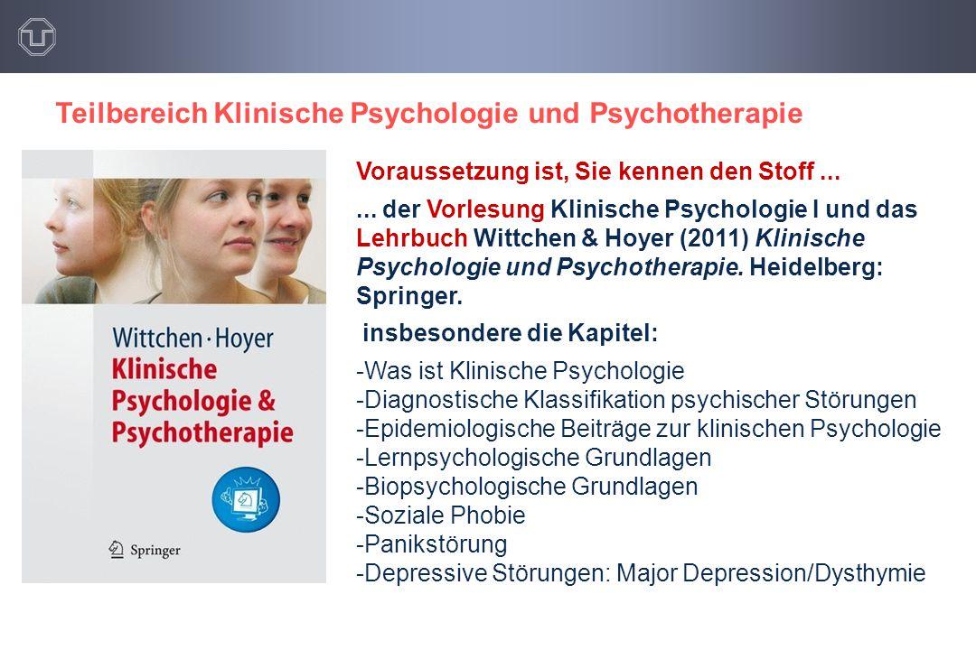 Teilbereich Klinische Psychologie und Psychotherapie