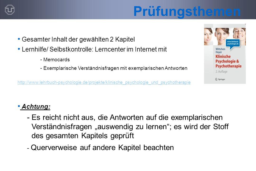 Prüfungsthemen Gesamter Inhalt der gewählten 2 Kapitel. Lernhilfe/ Selbstkontrolle: Lerncenter im Internet mit.