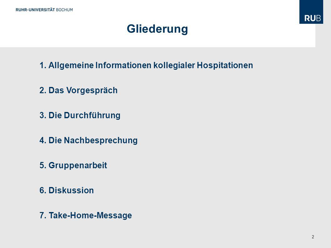 Gliederung 1. Allgemeine Informationen kollegialer Hospitationen