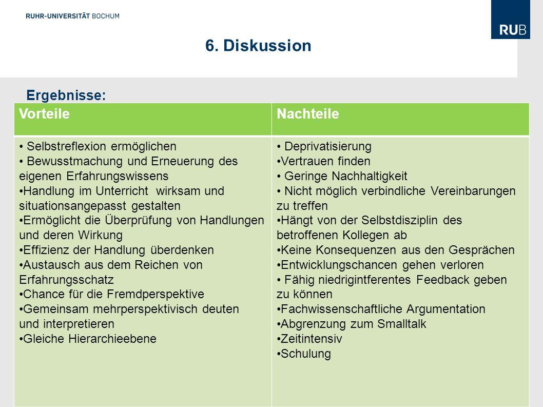 6. Diskussion Ergebnisse: Vorteile Nachteile