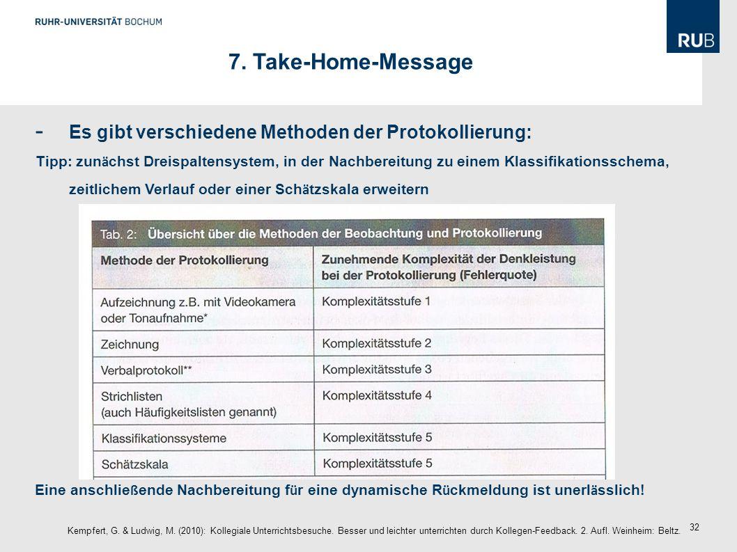 7. Take-Home-Message Es gibt verschiedene Methoden der Protokollierung: