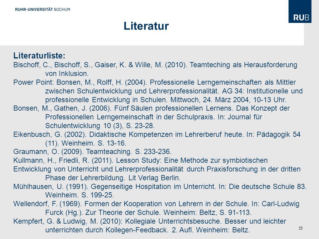 Literatur Literaturliste: