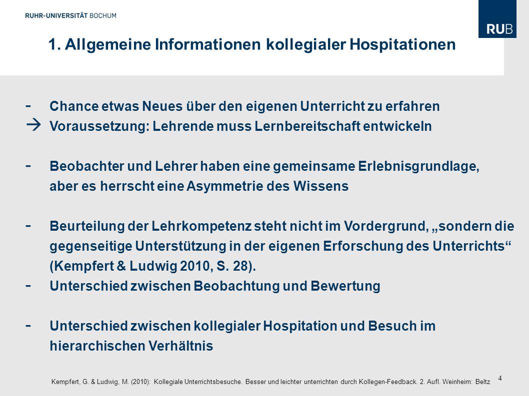 1. Allgemeine Informationen kollegialer Hospitationen