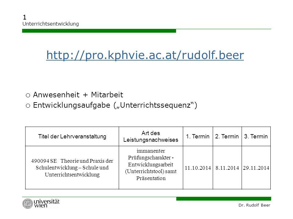 http://pro.kphvie.ac.at/rudolf.beer Anwesenheit + Mitarbeit