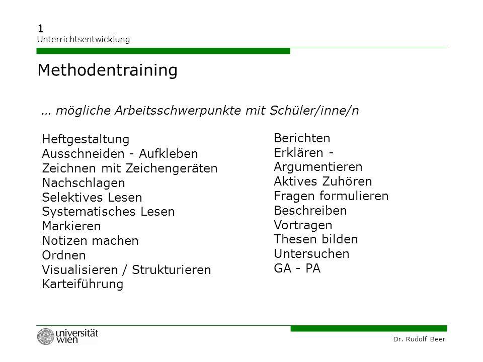 Methodentraining … mögliche Arbeitsschwerpunkte mit Schüler/inne/n