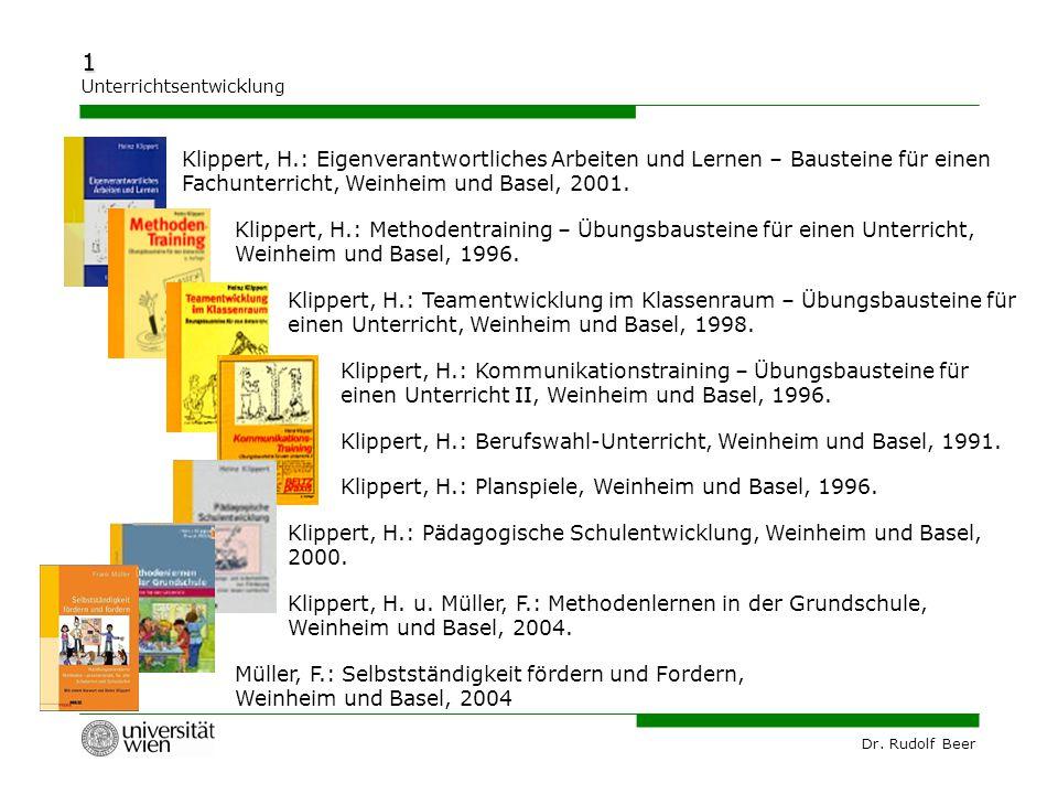 Klippert, H.: Eigenverantwortliches Arbeiten und Lernen – Bausteine für einen Fachunterricht, Weinheim und Basel, 2001.