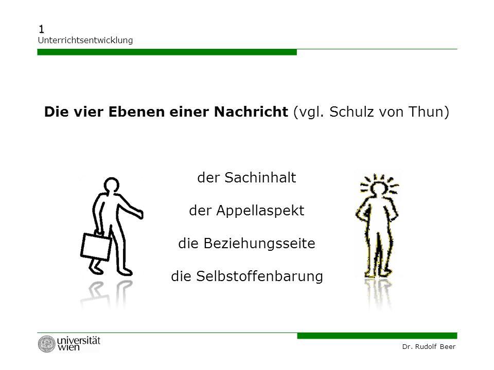 Die vier Ebenen einer Nachricht (vgl. Schulz von Thun)