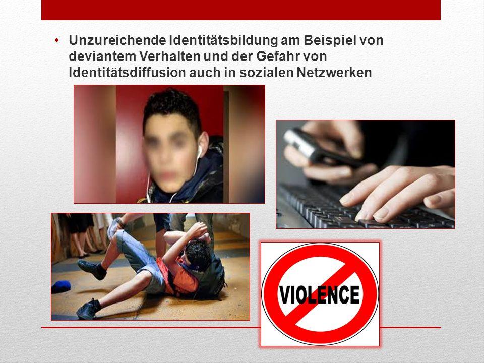 Unzureichende Identitätsbildung am Beispiel von deviantem Verhalten und der Gefahr von Identitätsdiffusion auch in sozialen Netzwerken