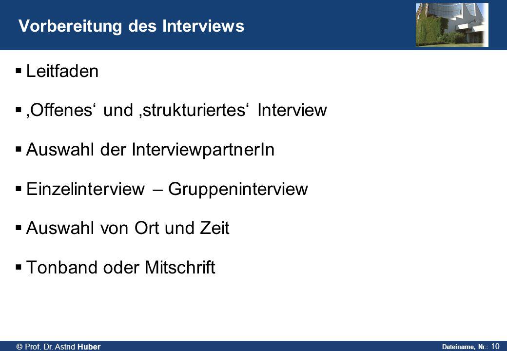 Vorbereitung des Interviews