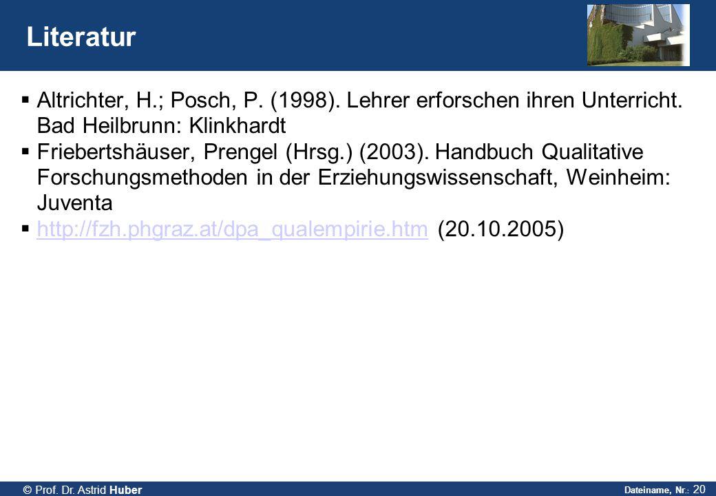 Literatur Altrichter, H.; Posch, P. (1998). Lehrer erforschen ihren Unterricht. Bad Heilbrunn: Klinkhardt.