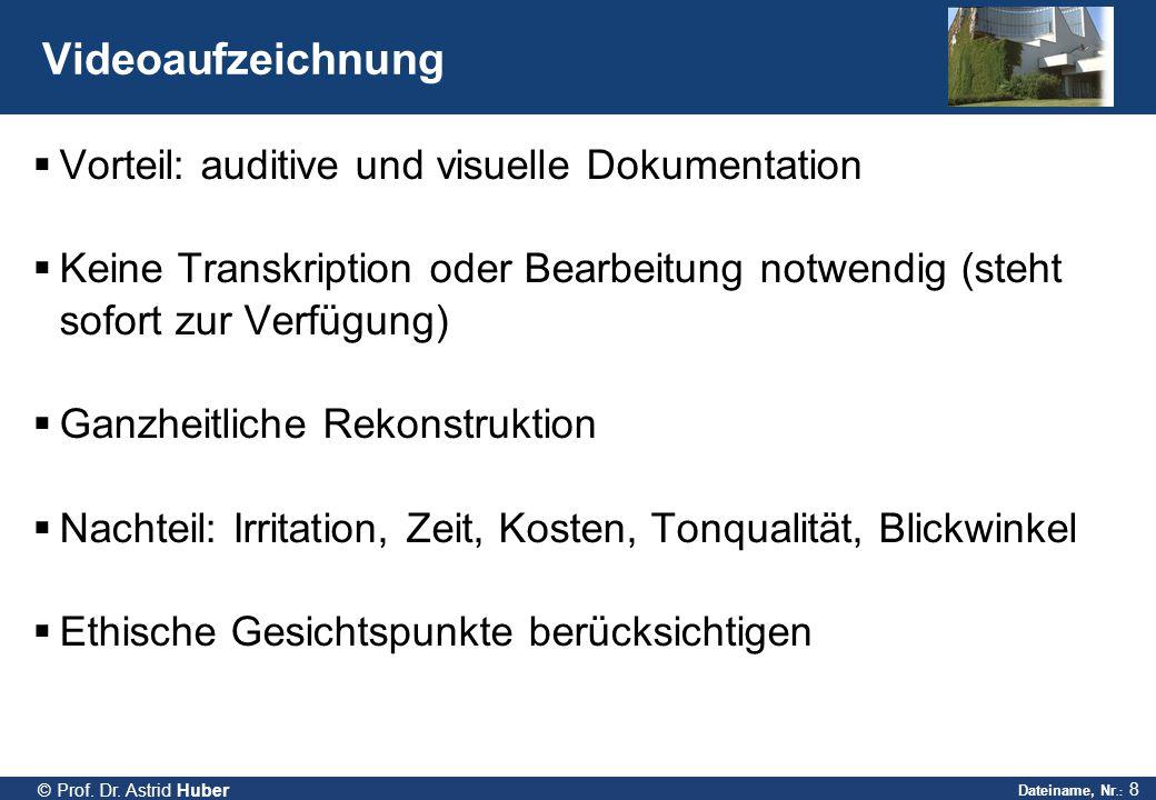 Videoaufzeichnung Vorteil: auditive und visuelle Dokumentation