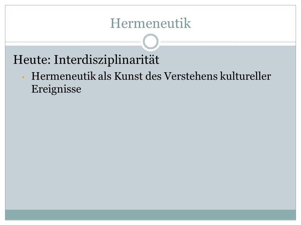 Hermeneutik Heute: Interdisziplinarität