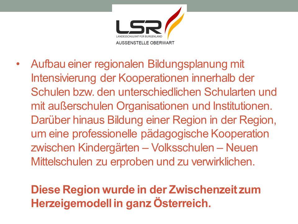 Aufbau einer regionalen Bildungsplanung mit Intensivierung der Kooperationen innerhalb der Schulen bzw.