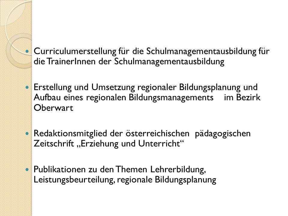 Curriculumerstellung für die Schulmanagementausbildung für die TrainerInnen der Schulmanagementausbildung