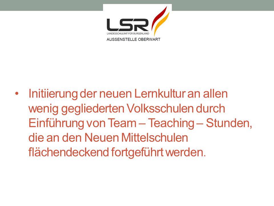 Initiierung der neuen Lernkultur an allen wenig gegliederten Volksschulen durch Einführung von Team – Teaching – Stunden, die an den Neuen Mittelschulen flächendeckend fortgeführt werden.