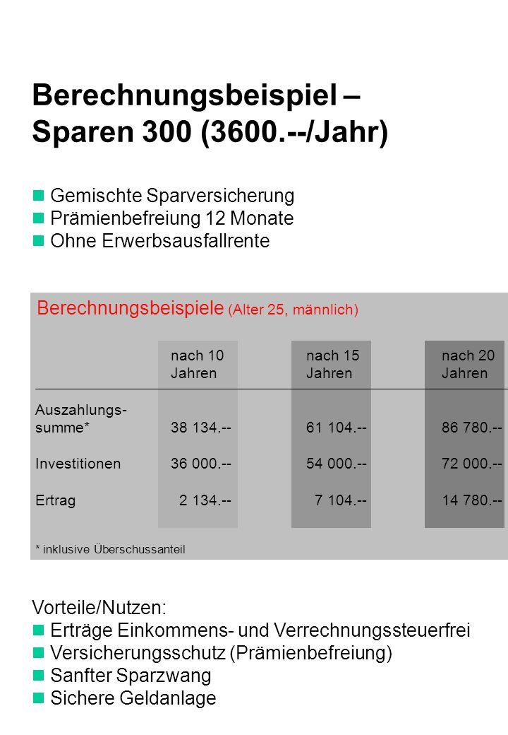 Berechnungsbeispiel – Sparen 300 (3600.--/Jahr)