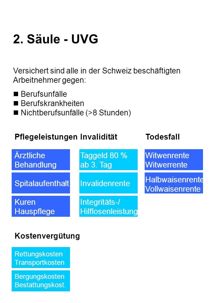 2. Säule - UVG Versichert sind alle in der Schweiz beschäftigten