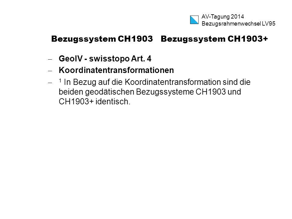 Bezugssystem CH1903 Bezugssystem CH1903+