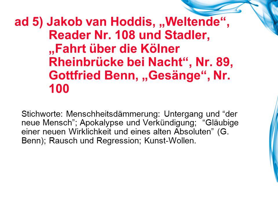 """ad 5) Jakob van Hoddis, """"Weltende , Reader Nr"""