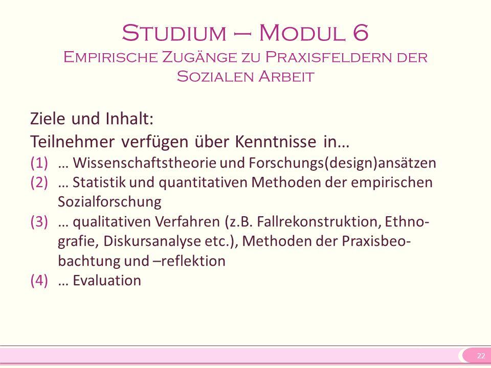 Studium – Modul 6 Empirische Zugänge zu Praxisfeldern der