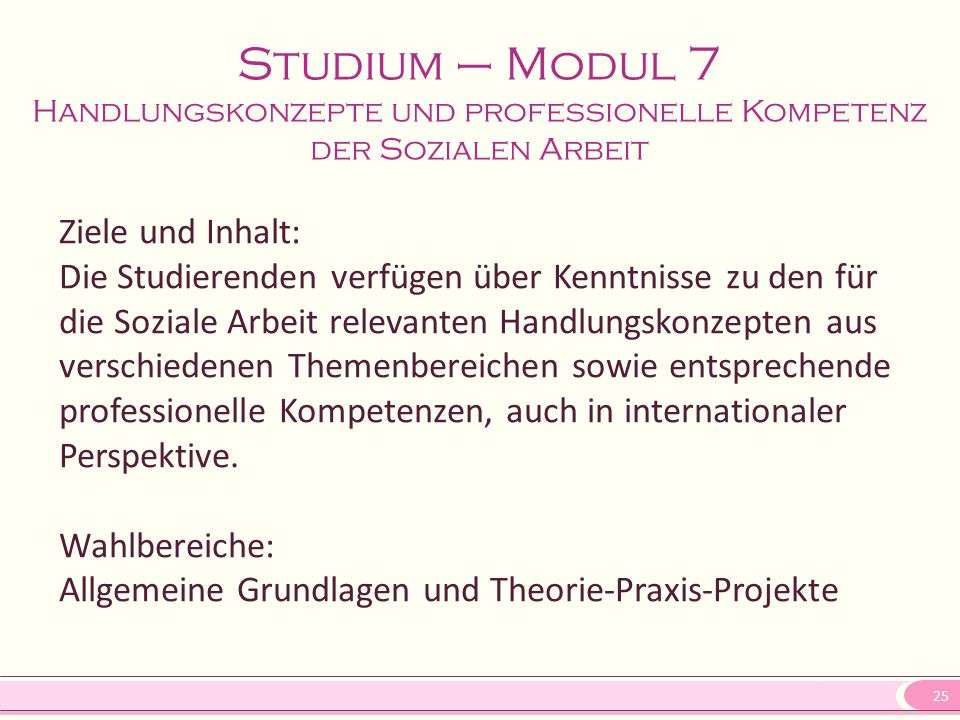 Studium – Modul 7 Handlungskonzepte und professionelle Kompetenz der Sozialen Arbeit