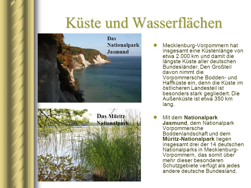 Küste und Wasserflächen