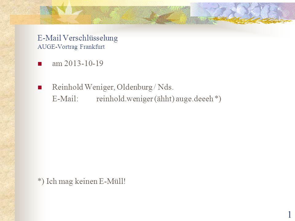 E-Mail Verschlüsselung AUGE-Vortrag Frankfurt