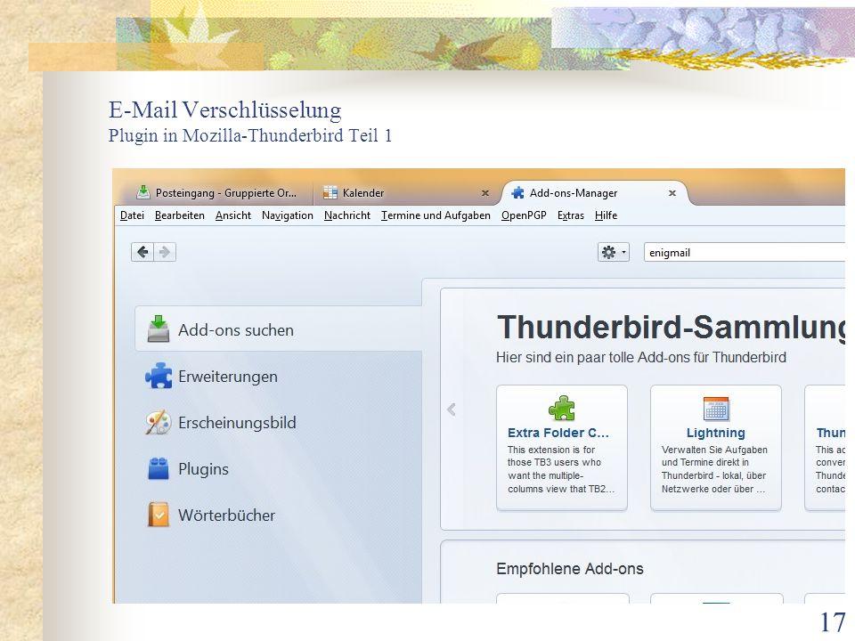 E-Mail Verschlüsselung Plugin in Mozilla-Thunderbird Teil 1