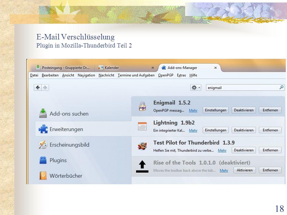 E-Mail Verschlüsselung Plugin in Mozilla-Thunderbird Teil 2