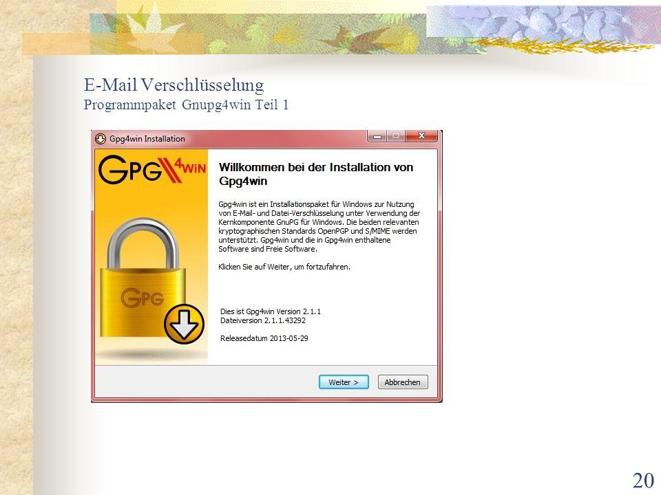 E-Mail Verschlüsselung Programmpaket Gnupg4win Teil 1