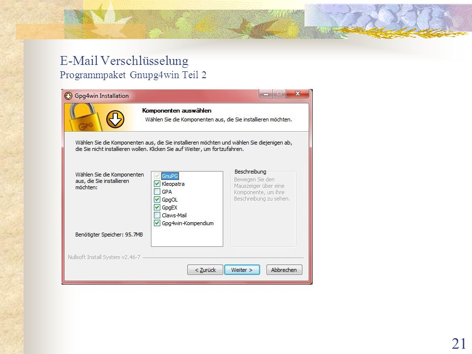 E-Mail Verschlüsselung Programmpaket Gnupg4win Teil 2