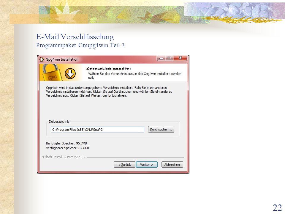 E-Mail Verschlüsselung Programmpaket Gnupg4win Teil 3