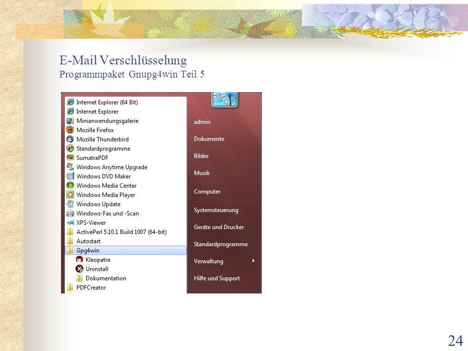 E-Mail Verschlüsselung Programmpaket Gnupg4win Teil 5