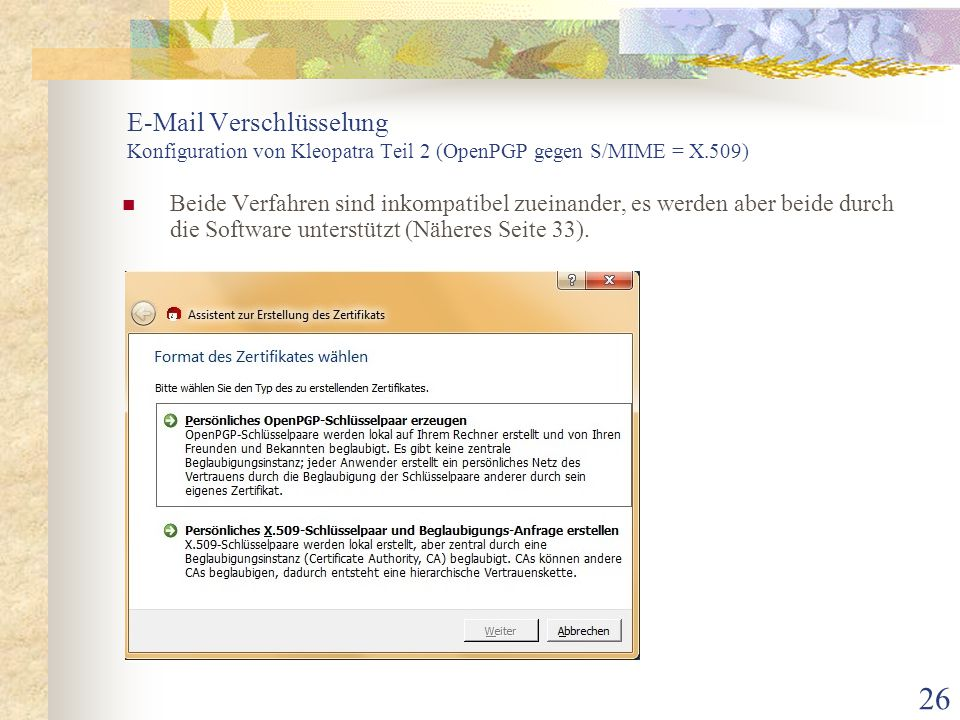 E-Mail Verschlüsselung Konfiguration von Kleopatra Teil 2 (OpenPGP gegen S/MIME = X.509)