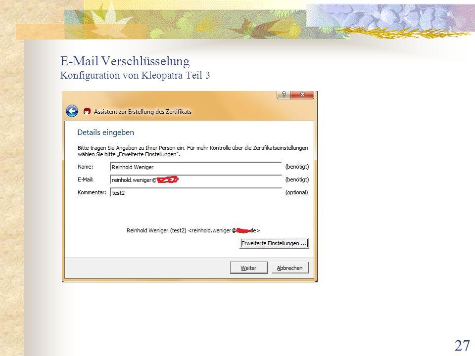 E-Mail Verschlüsselung Konfiguration von Kleopatra Teil 3