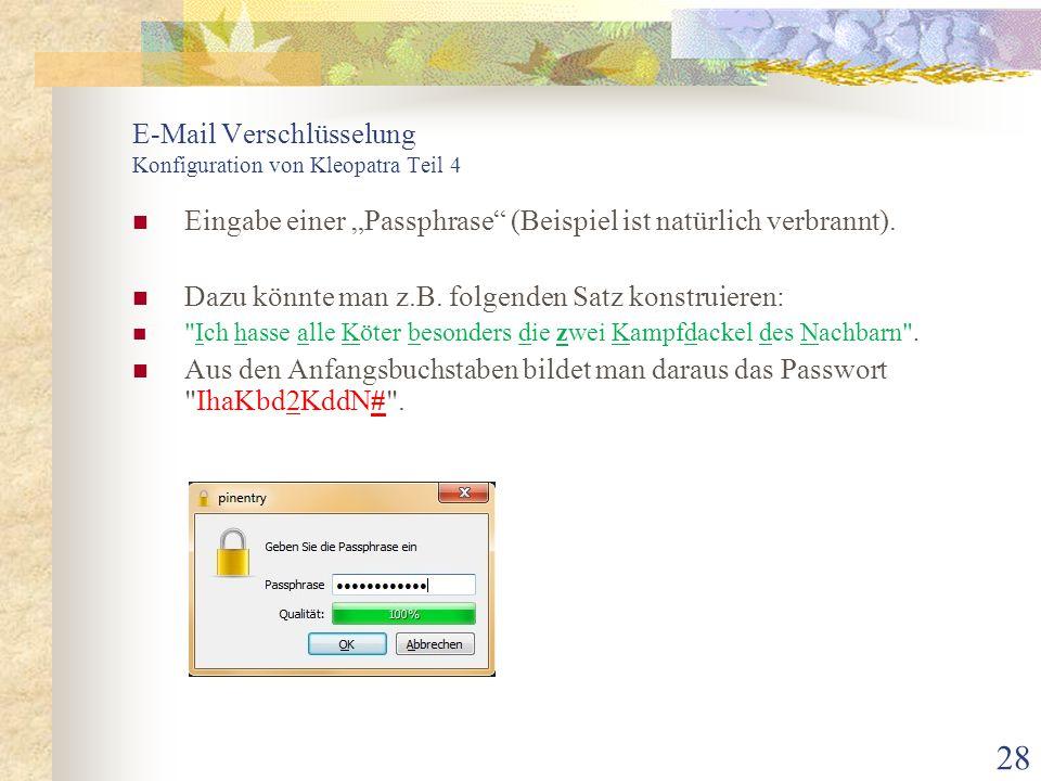 E-Mail Verschlüsselung Konfiguration von Kleopatra Teil 4