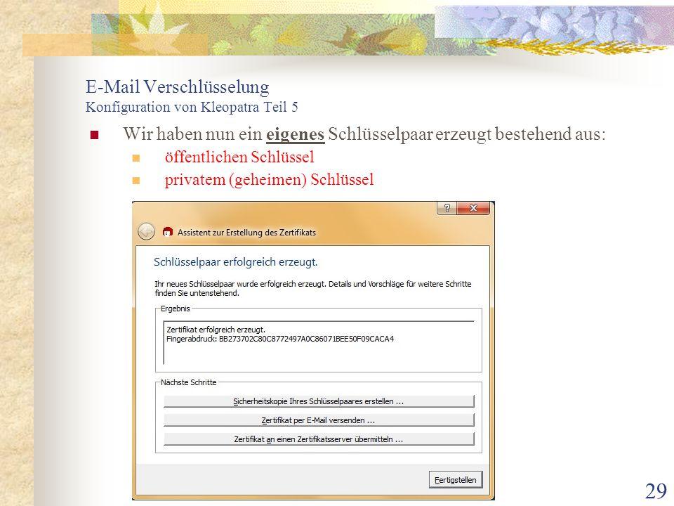 E-Mail Verschlüsselung Konfiguration von Kleopatra Teil 5