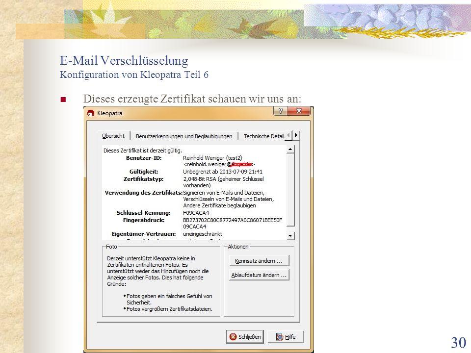 E-Mail Verschlüsselung Konfiguration von Kleopatra Teil 6