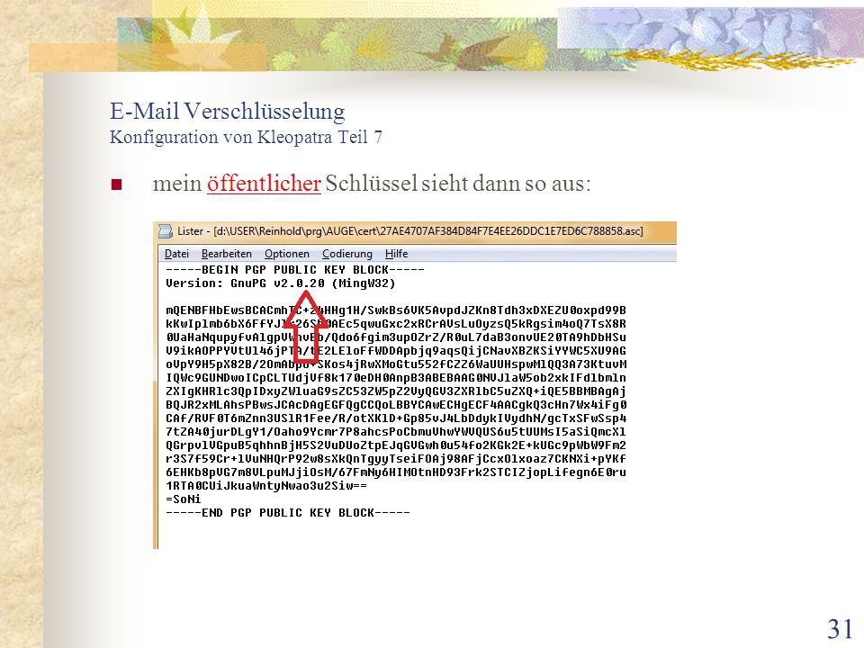 E-Mail Verschlüsselung Konfiguration von Kleopatra Teil 7